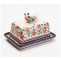 Lidia's Polish Pottery Hand-painted Bird Butter Dish, Red Daisy