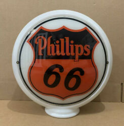 Vintage Phillips 66 Gas Pump Globe Light Glass Lens Service Station Sign Oil