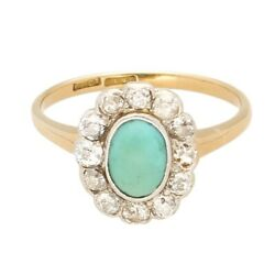 Vintage 18ct Yellow Gold And Platinum Turquoise And Diamond Cluster Ring Size O1/2