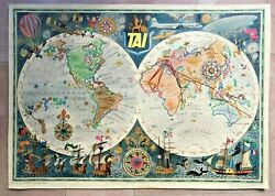 World Map Tai By Luc-marie Bayle 1950 Antique Large Pictorial Map