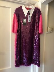 New House Of Holland Pink And Purple Sequin White Cotton Collar Shirt Dress,uk14