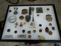 Vintage Lighter War Button Buckles Military Snuff Bottle Badge Jewelry Lot