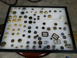 Vintage Pipe War Button Buckles Military War Us Gold Jewelry Lot Ww2 Buttons Lo