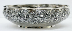 Antique Black Starr And Frost Sterling Silver Floral Repousse Bowl