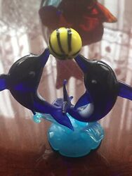 Murano Style Cobalt Blue Playing Glass Dolphins