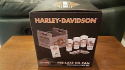Harley Davidson Pre Luxe Oil Can Pint Glass Crate Set