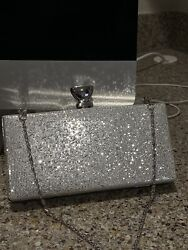 Silver Clutch Crossbody Evening Bag by Camille $23.00