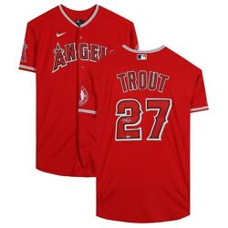 Mike Trout Los Angeles Angels Autographed Red Authentic Mlb Baseball Jersey