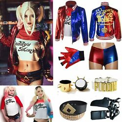 Girl Kids Women Harley Quinn Suicide Squad Halloween Costume Cosplay Outfit Suit $38.99
