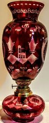 Cut To Clear Red Bohemian Czechoslovakian Very Large Oil Lamp 14 Kosmos Burner