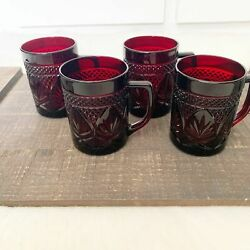 Ruby Red Glassware 4 Cups Diamond And Leaf Design Vintage