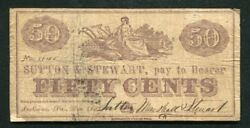 1862 50 Cents Sutton Marshall And Stewart Indiana Pa Obsolete Scrip Note Rare