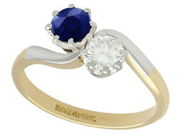 Vintage Diamond And Sapphire 18k Yellow Gold Twist Ring 1950s Size 7