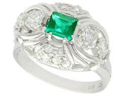 Vintage 1950s 0.55ct Emerald And 0.46ct Diamond 14k White Gold Dress Ring