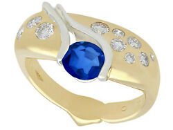 Vintage 0.97 Ct Sapphire And 0.48 Ct Diamond 18k Yellow Gold Ring Size 7.75