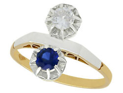 Vintage 0.33 Ct Sapphire And 0.28 Ct Diamond 18k Yellow Gold Dress Ring