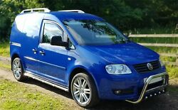 Side Bars + White Leds For Volkswagen Caddy 2004 - 2010 Polished Stainless Steel