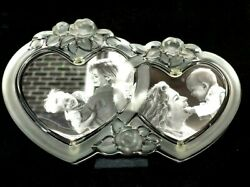 Vintage Mikasa Rosemont Double Heart Picture Frame Glass Made In Germany Crystal