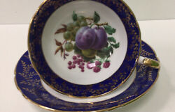 Imperial Finest English Bone China Tea Cup And Saucer Fruit Motif Gold Band And Trmi