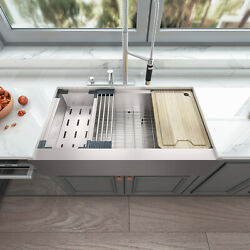 Sinber 36and039and039 16 Gauge Single Bowl Stainless Steel Farmhouse Apron Kitchen Sink