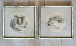 2 Antique M. Mcculloch Framed Black Charcoals Mt Rainier And Snoqualmie Falls