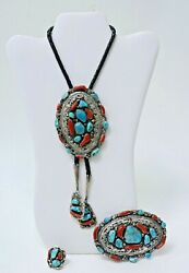 Large Navajo Bolo Tie - Buckle - Ring Set - Turquoise - Coral - Sterling Silver