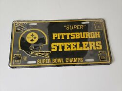 Pittsburgh Steelers Vtg 70s License Plate Super Bowl Champs Ix X Xiii Xiv Unused