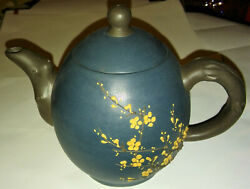 Yixing Chinese Tea Pot Ceramic Stoneware Cherry Blossoms Artist Signed Stamped