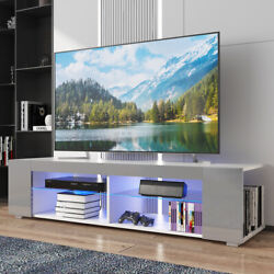 57 High Gloss Tv Stand Cabinet With Led Lights Entertainment Center For 65 Tv