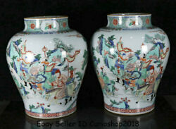 13.6antique Old Chinese Wucai Porcelain Dynasty People Story Pot Jar Crock Pair