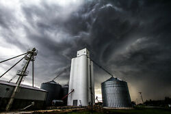 Country Photography Print Of Storm Clouds Swirling Over Grain Elevator In Kansas