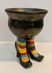 Witch Heels Couldron Halloween Candy Dish Planter Pottery Unique