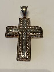925 Sterling Silver Cross Mens Women#x27;s Big Sparkly Bling CZ Cross Pendant $150.00