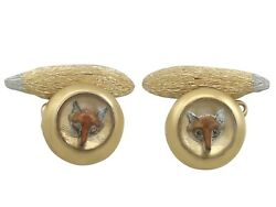 Antique Essex Crystal And 21carat Yellow Gold And039foxand039 Cufflinks 1890s