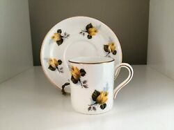 Royal Grafton Fine Bone China England Yellow And Gold W/ Flowers Tea Cup And Saucer