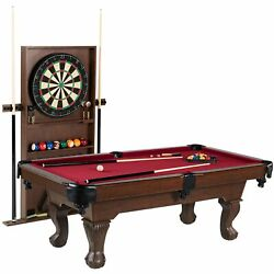 Red Billiard Pool Table + Dartboard And Cabinet + Cue Rack With All Accessories