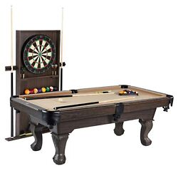 Tan Billiard Pool Table + Dartboard And Cabinet + Cue Rack With All Accessories