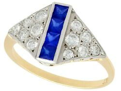 Vintage 0.28 Ct Sapphire And 0.48 Ct Diamond 18k Yellow Gold Dress Ring