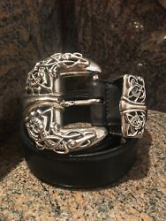 Authentic Chrome Hearts Sterling 3 Piece Belt Buckle With Black Leather Belt