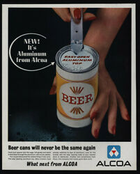 1963 Alcoa Cans - Easy Open Aluminum Top Beer Can And Old Can Opener Vintage Ad