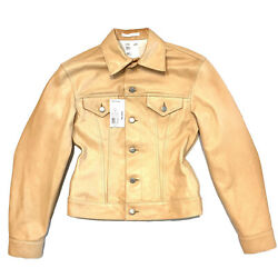 Helmut Lang Unisex Raw Calf Leather Trucker Button Jacket Natural Msrp 1495