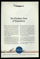 1961 PAN AM Airlines Priceless Extra of Experience Passanger Jet VINTAGE AD