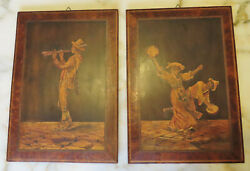 Pair Antique Marquetry Wood Inlay Pictures 14.1/2 X 10 1/4