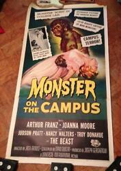 Monster On The Campus Horror Sci-fi 41x81 3-sheet On Linen Universal Int. Rare