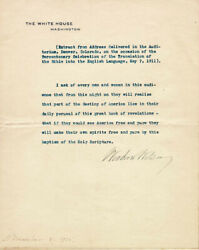Woodrow Wilson - Typed Quotation Signed 11/08/1915