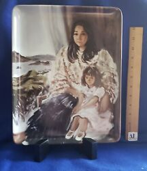 Federico Alcuaz Original Collectible Plate Mother And Child 1049 W/ Stand And Box