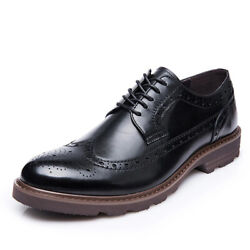 Menand039s Formal Lace Up Real Leather Oxford Dress Shoes Brogue Business Party Shoes