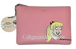 NEW Kate Spade x Archie Comics Betty amp; Veronica Lg Zip Clutch Pouch Pink Multi $48.97