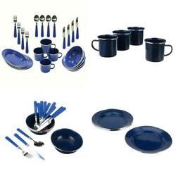Enamel Dinnerware Set 24 Piece Camping Dishes Picnic Bbq Barbecue Tableware Tool