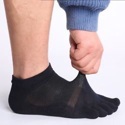 5-6 Pack Men Women Combed Cotton Five Finger Toe Socks Ankle Solid Casual Sport